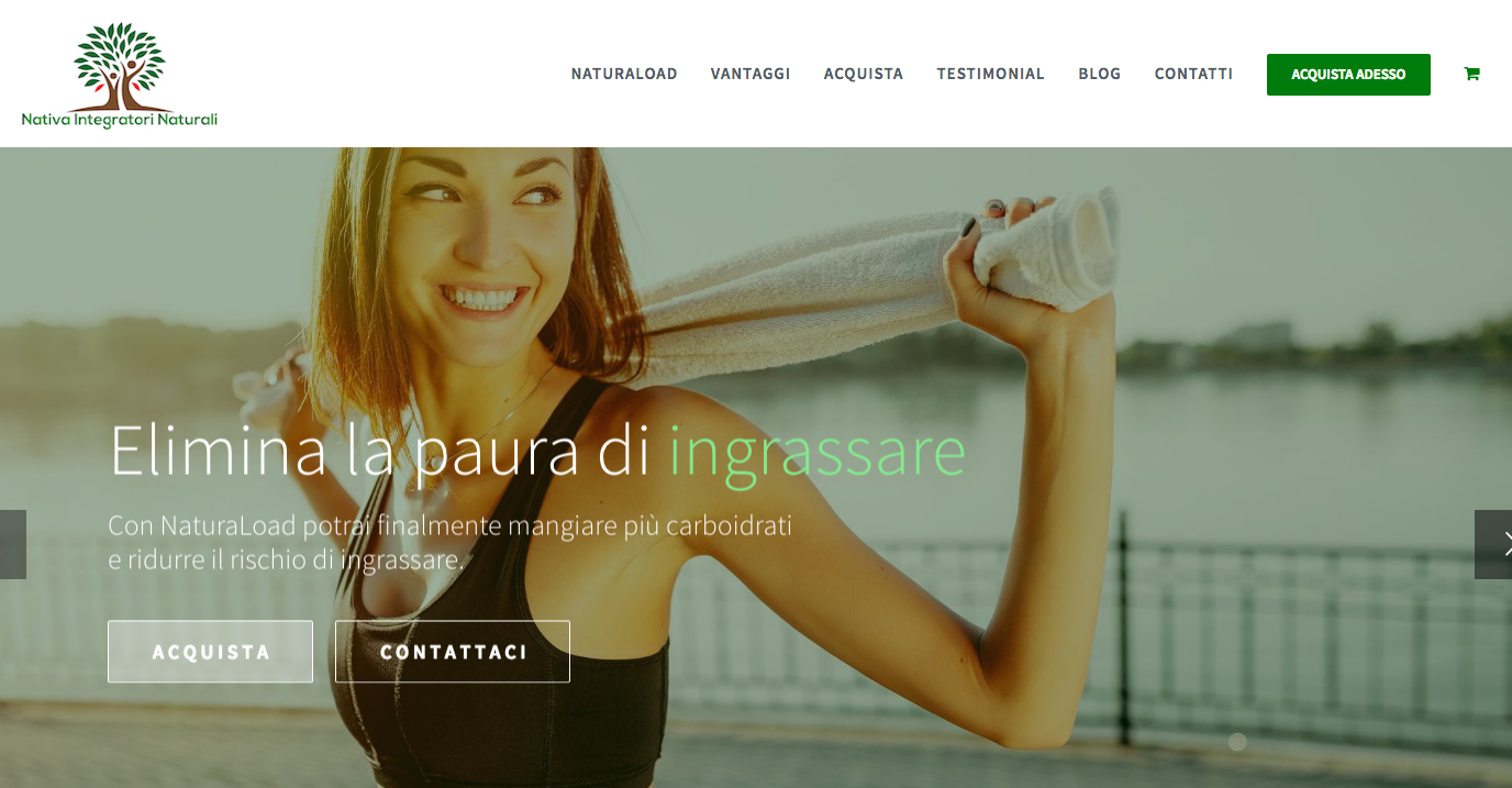 Homepage del sito NaturaLoad