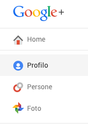 Profilo google plus menù a tendina