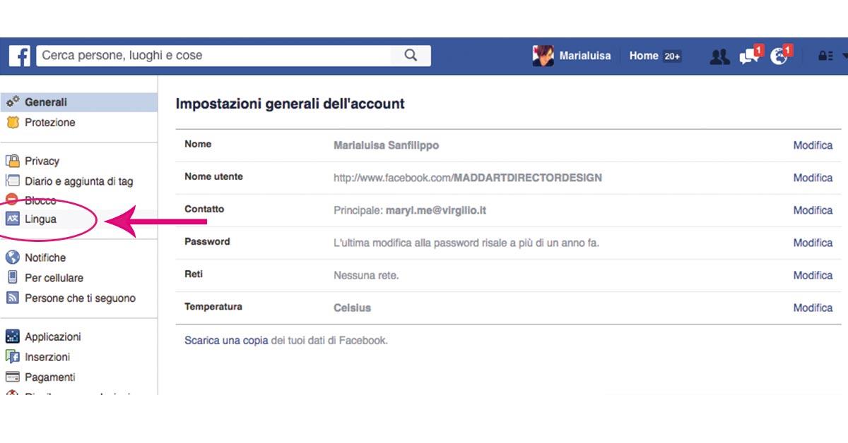 modifica le impostazioni della lingua su Facebook per attivare Graph Search